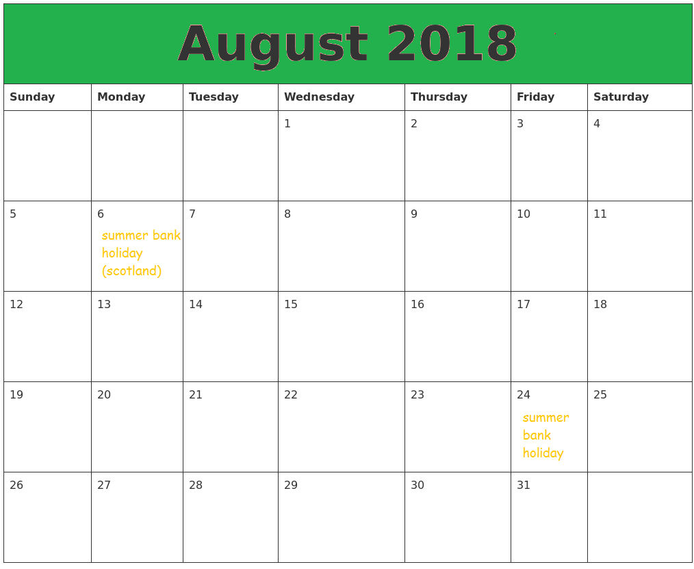 Free Download August 2018 Calendar With Holidays Notes
