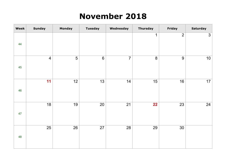 Free November 2018 Blank Templates