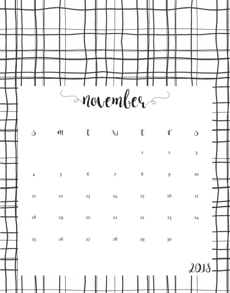 Free November 2018 Calendar Designs