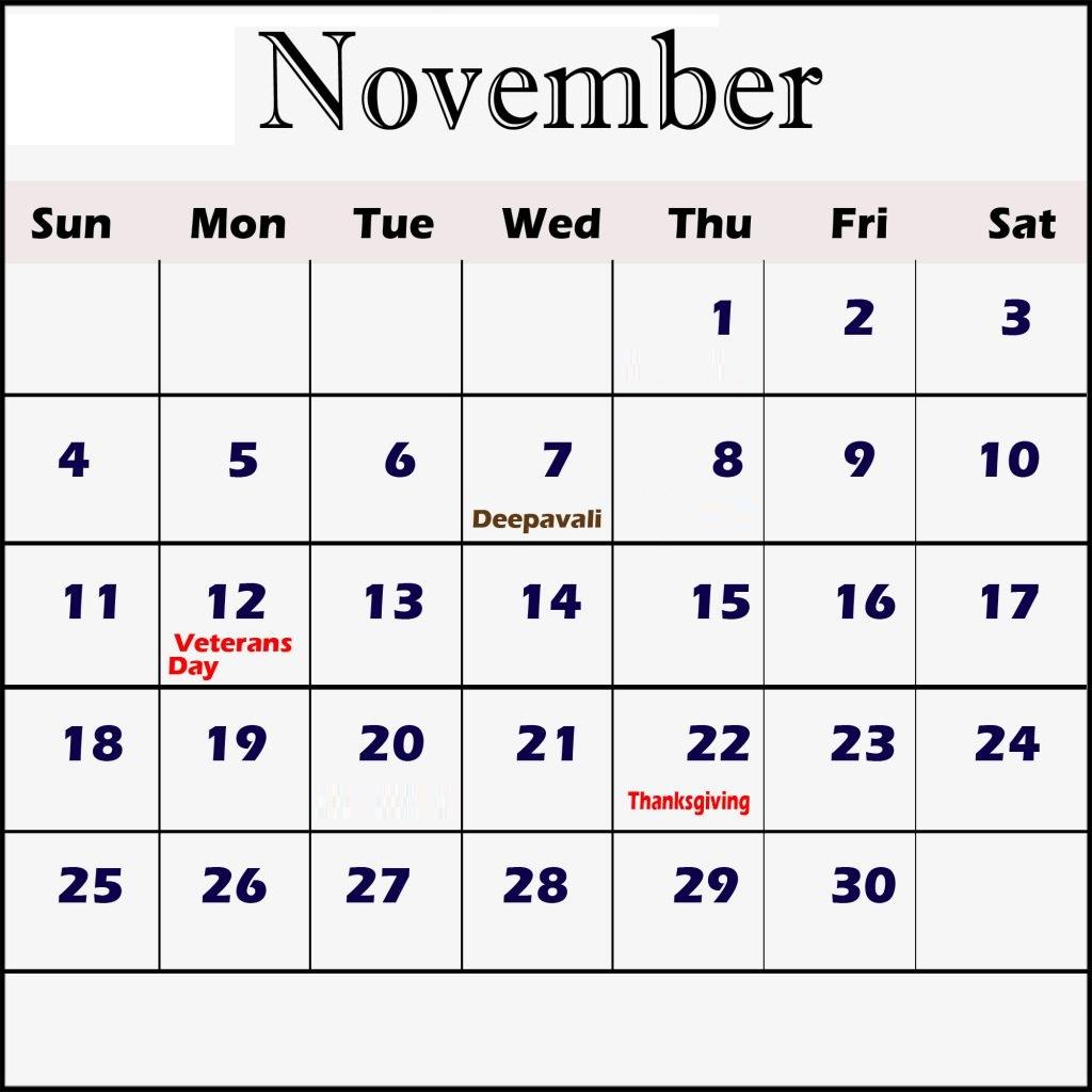 Free November 2018 Holidays Calendar