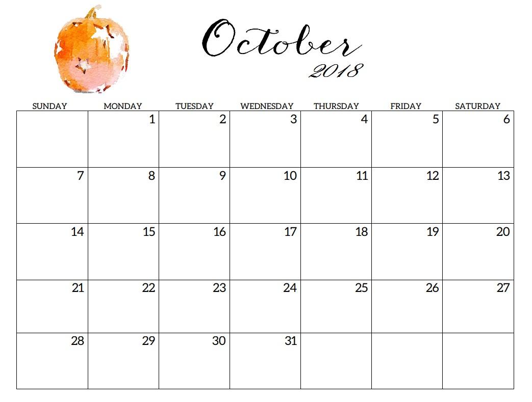 Free October 2018 Calendar Editable