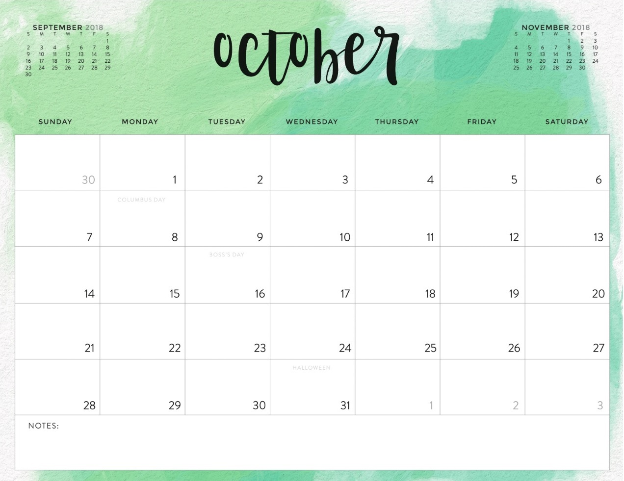 Free October 2018 Calendar For Office Table