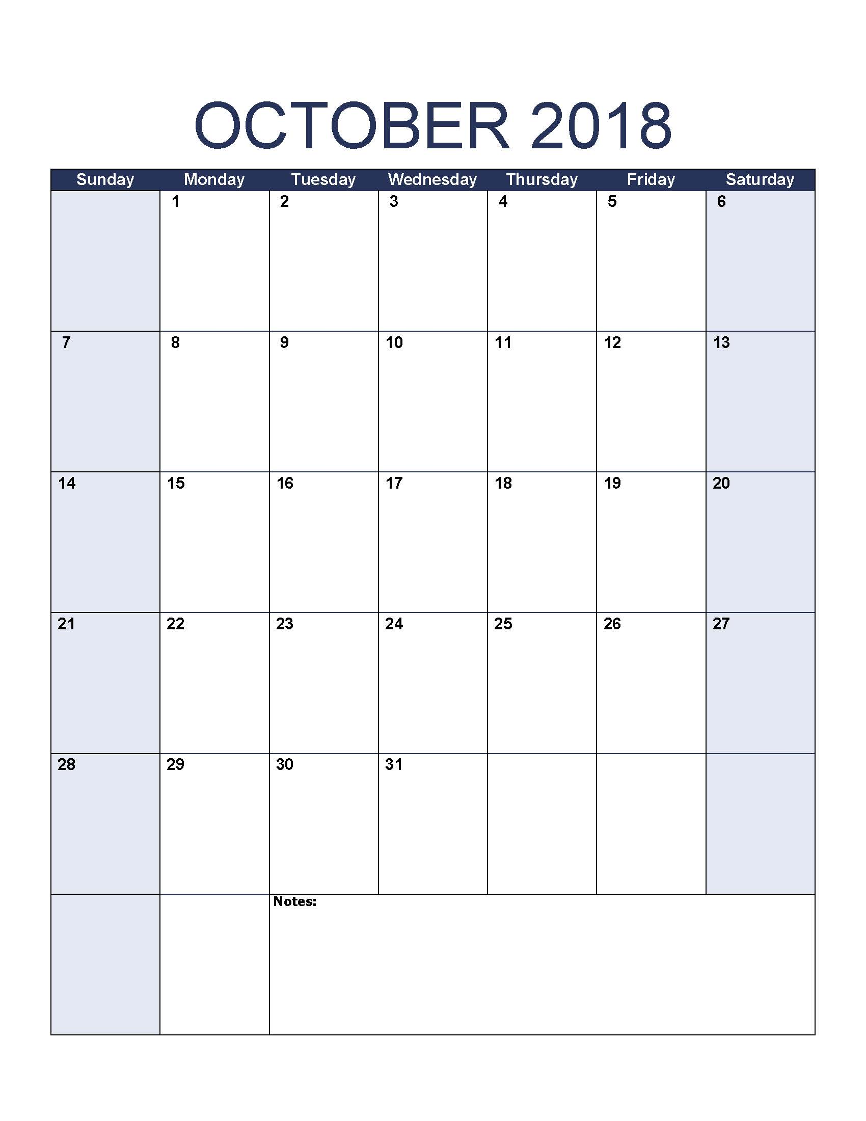 Free October 2018 Calendar Page