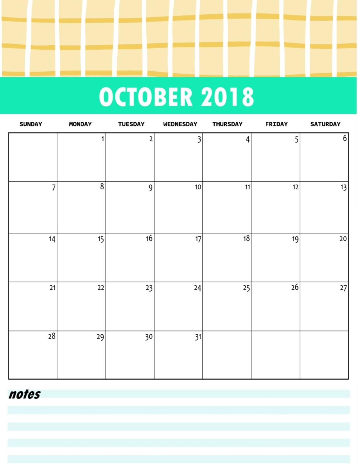 Free October 2018 Calendar Templates