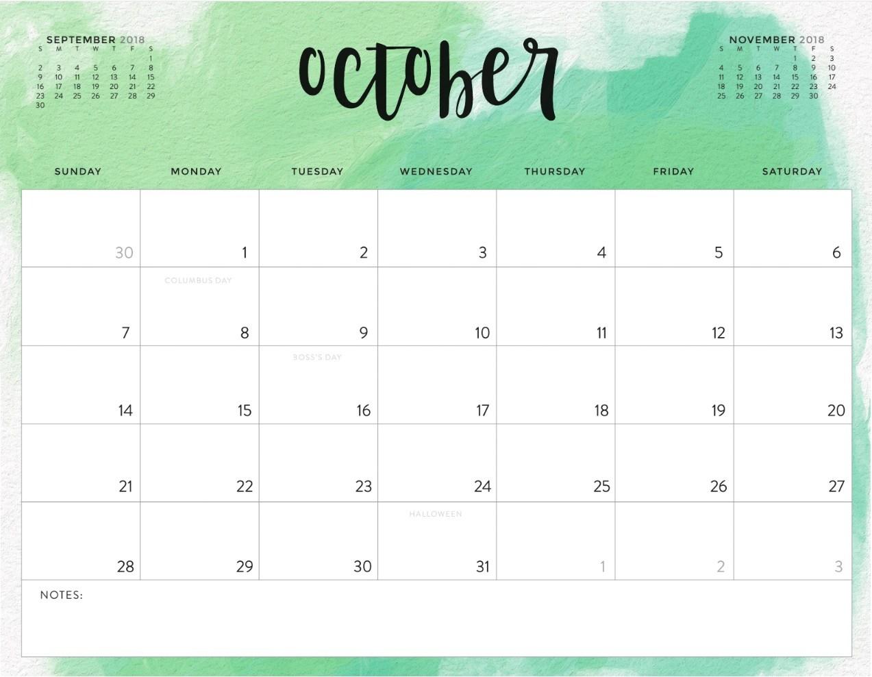 Free October 2018 Calendar to Print