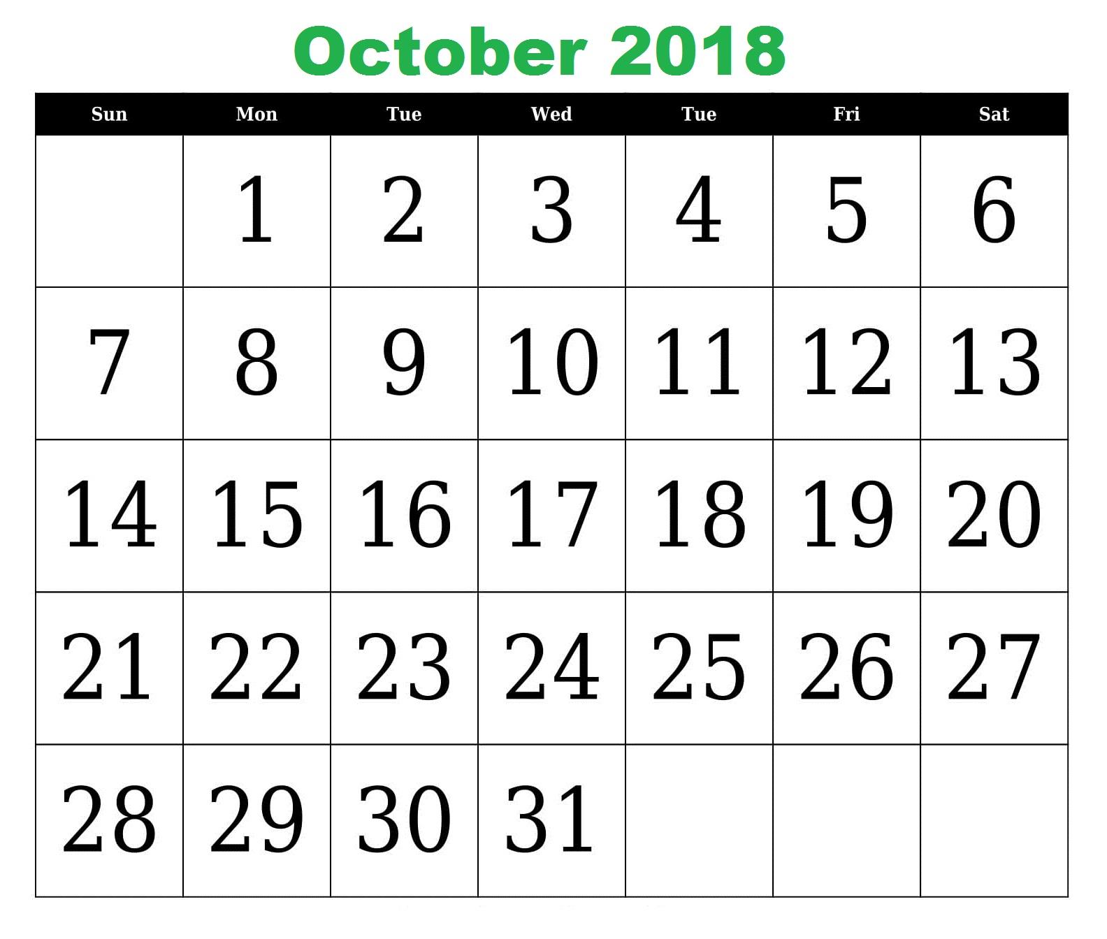 Free October 2018 Calendar