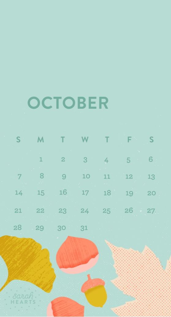Free October 2018 iPhone Calendar Wallpapers