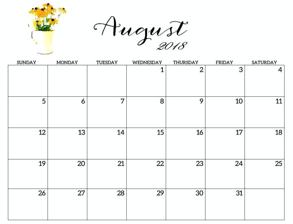 Free Printable August 2018 Calendar Excel
