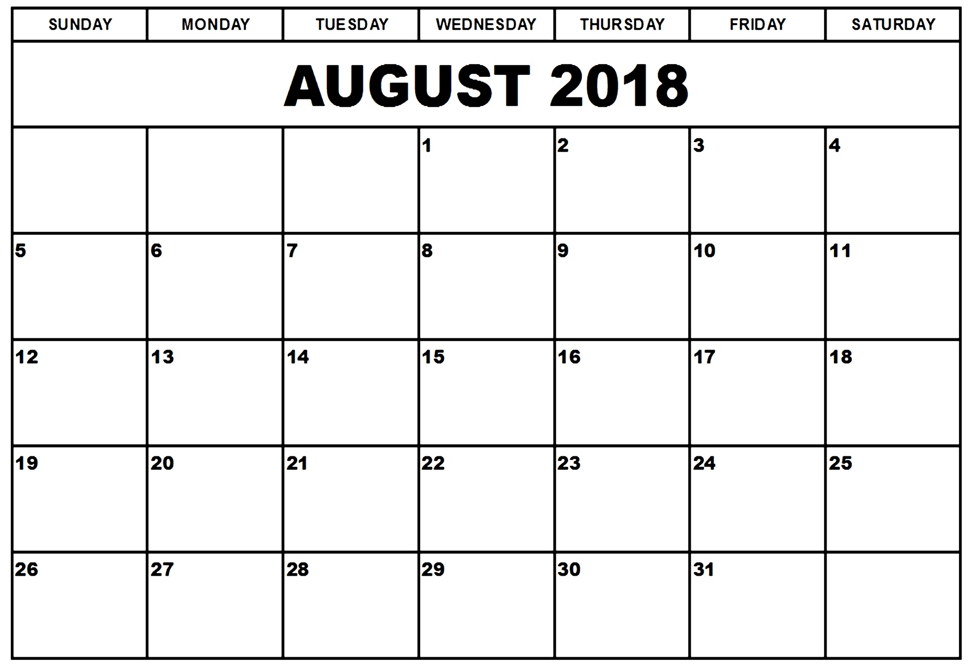 Free Printable Calendar For August 2018