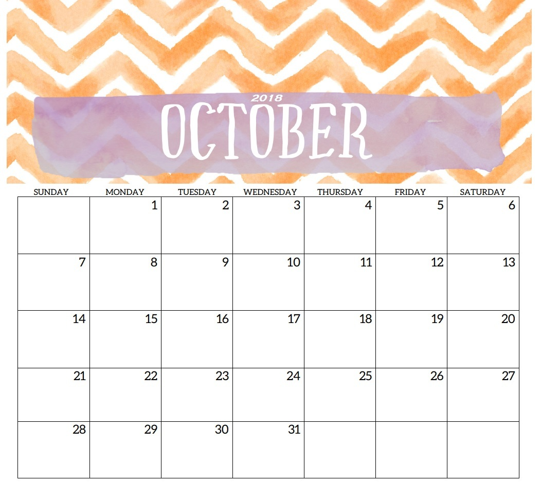 Free Printable Calendar October 2018 Cute