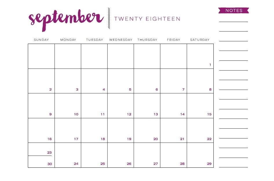 Free Printable September 2018 Desk Calendar