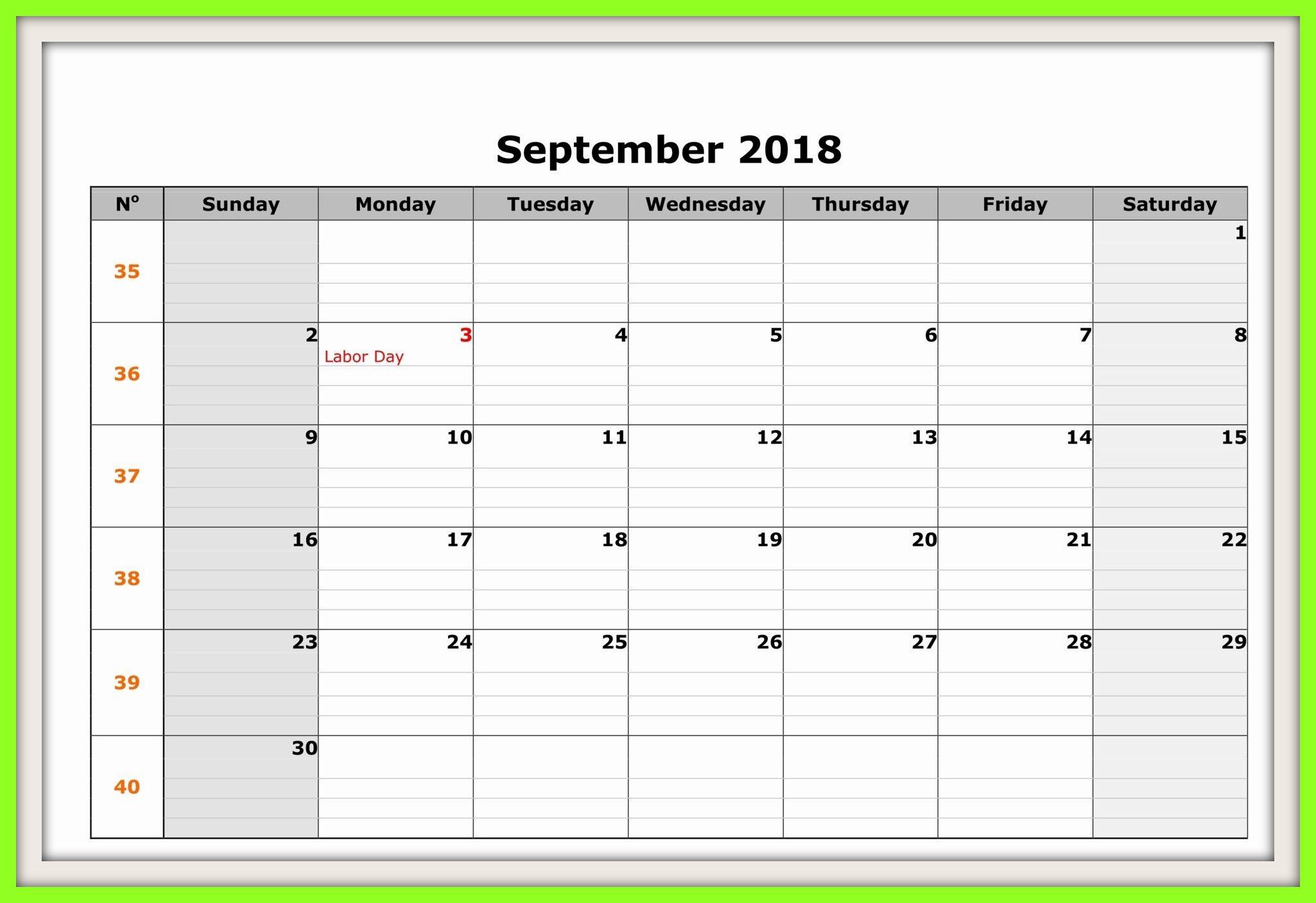 Free September 2018 Calendar Canada