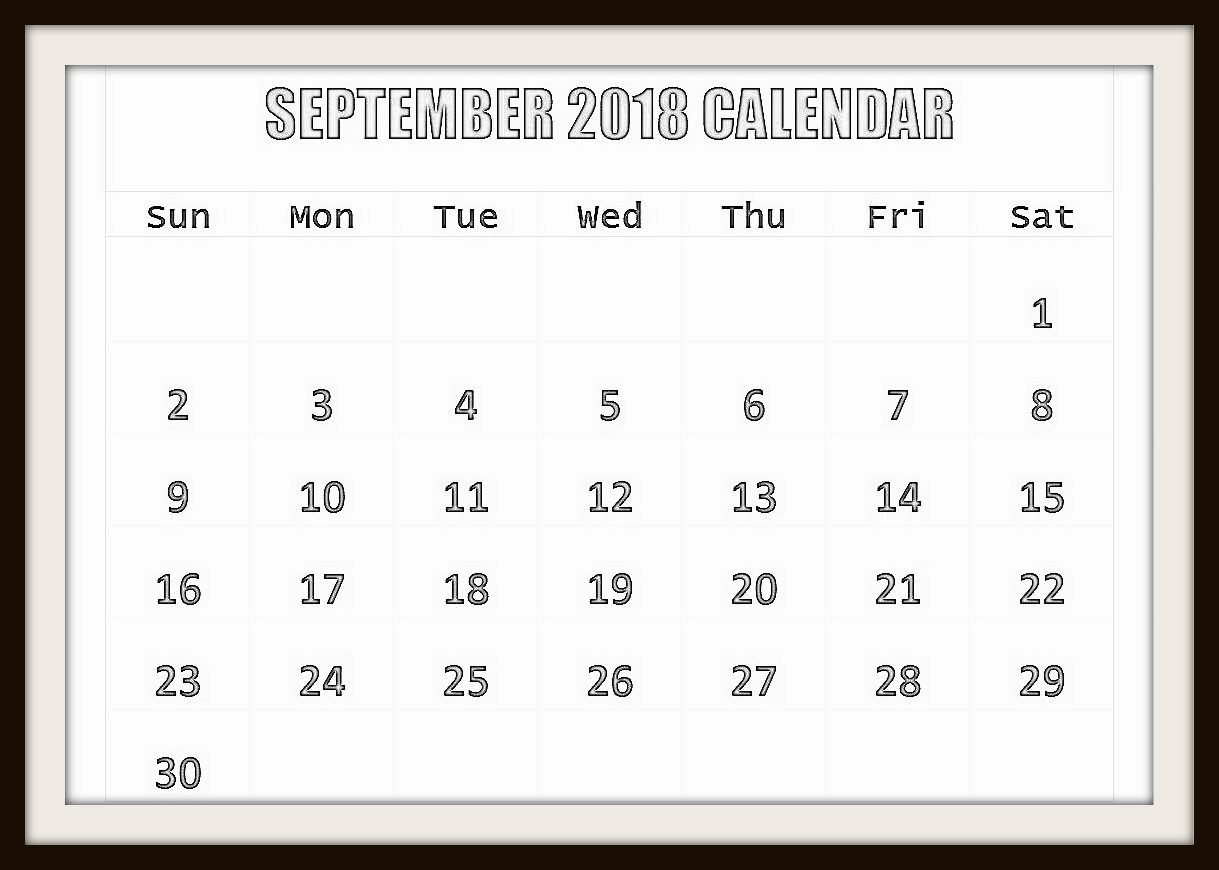 Free September 2018 Calendar Cute