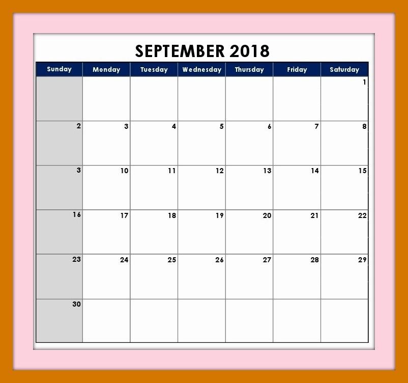 Free September 2018 Calendar Editable