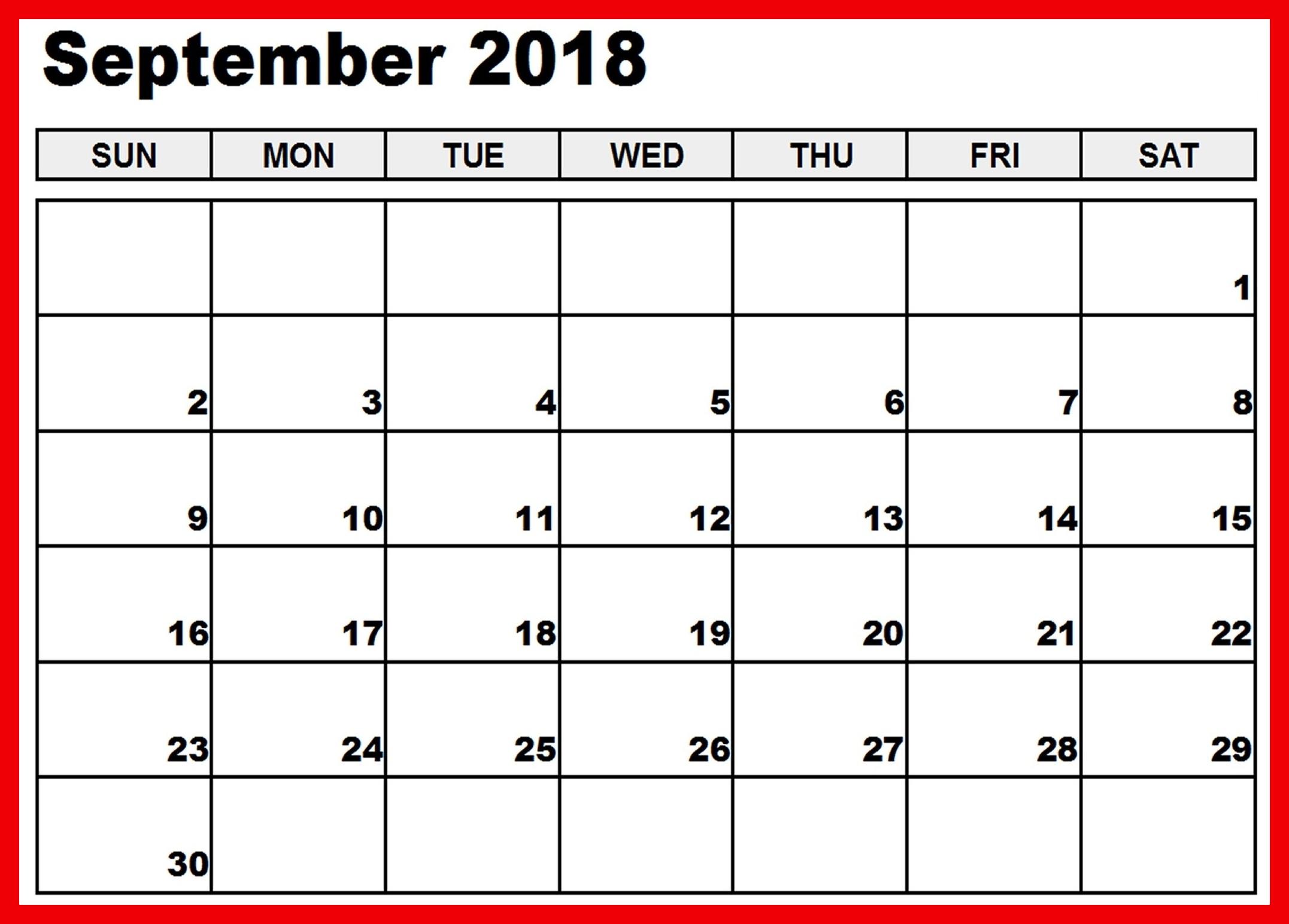 Free September 2018 Calendar Excel