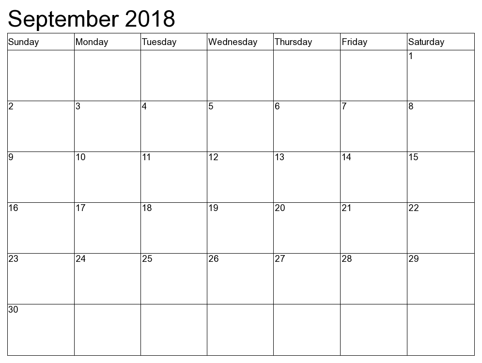 Free September 2018 Calendar Printable Template