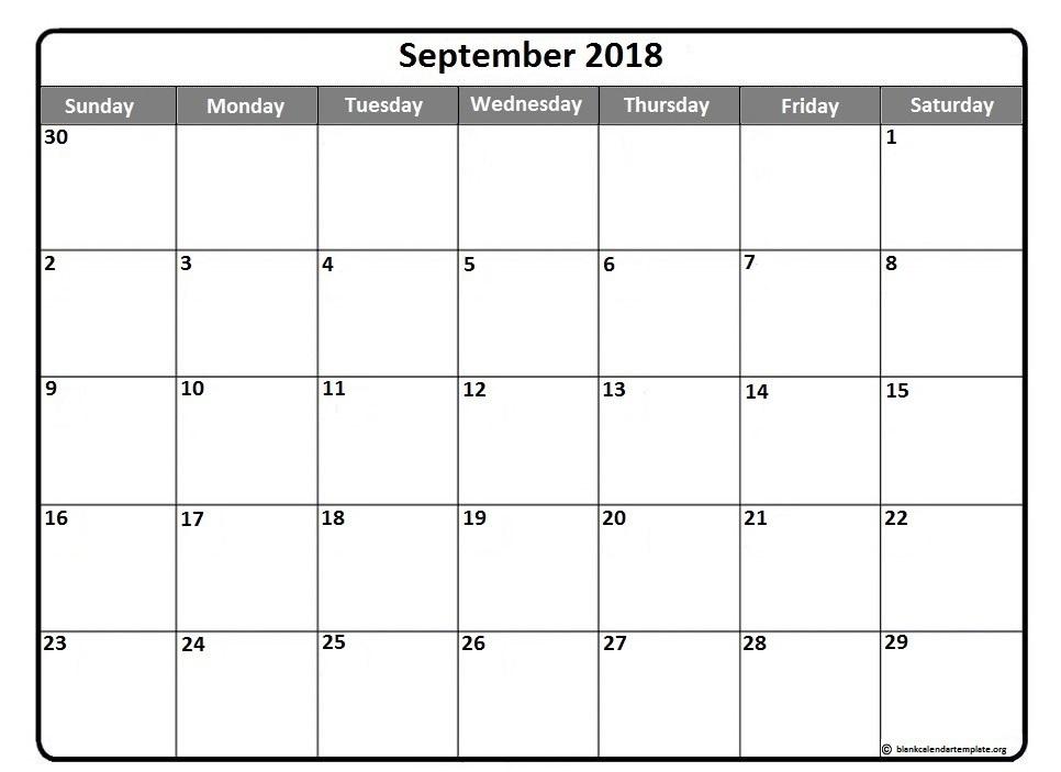 Free September 2018 Calendar Singapore