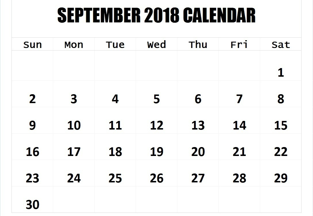 Free September 2018 Calendar Template