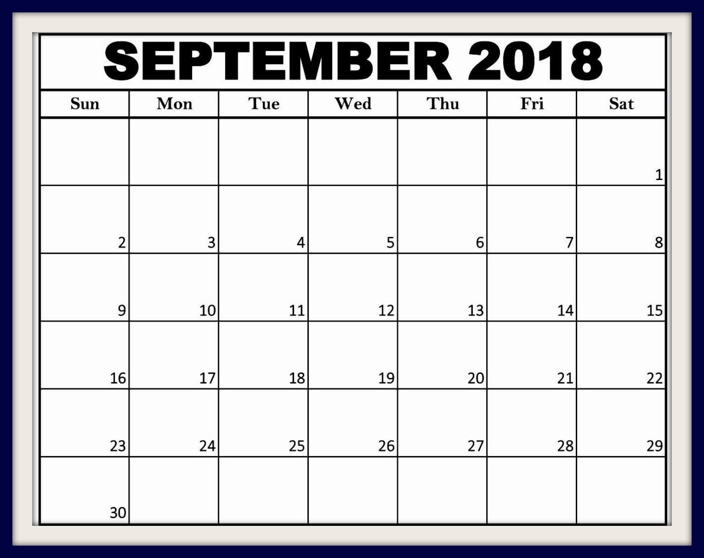 Free September 2018 Calendar USA