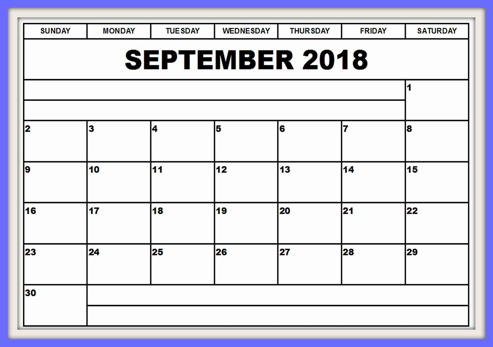 Free September 2018 Calendar to Print