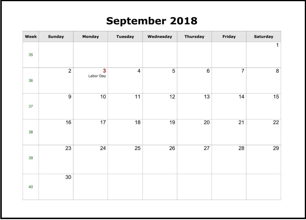 Free September 2018 Editable Calendar
