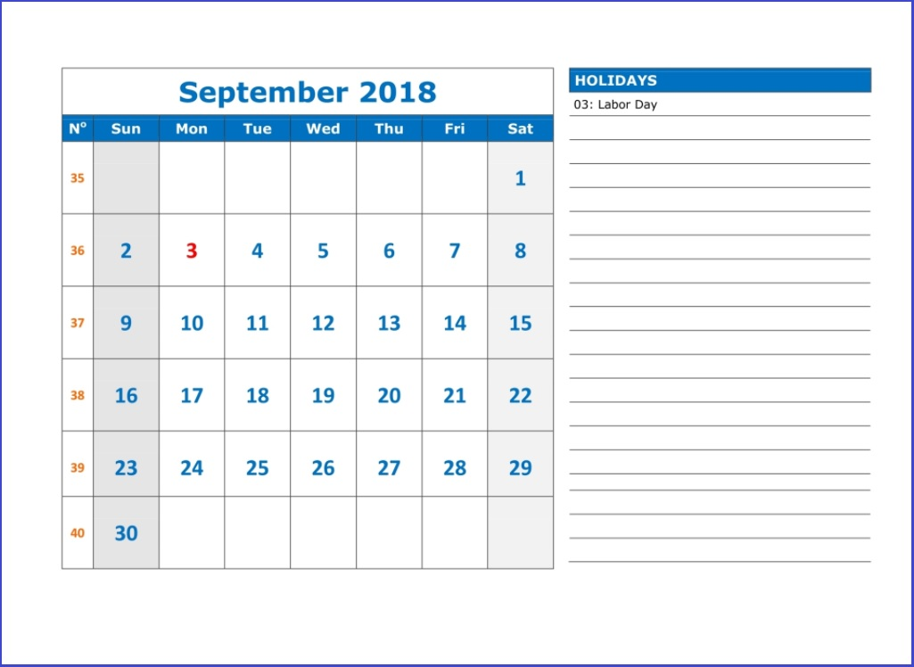 Free September 2018 Holidays Calendar