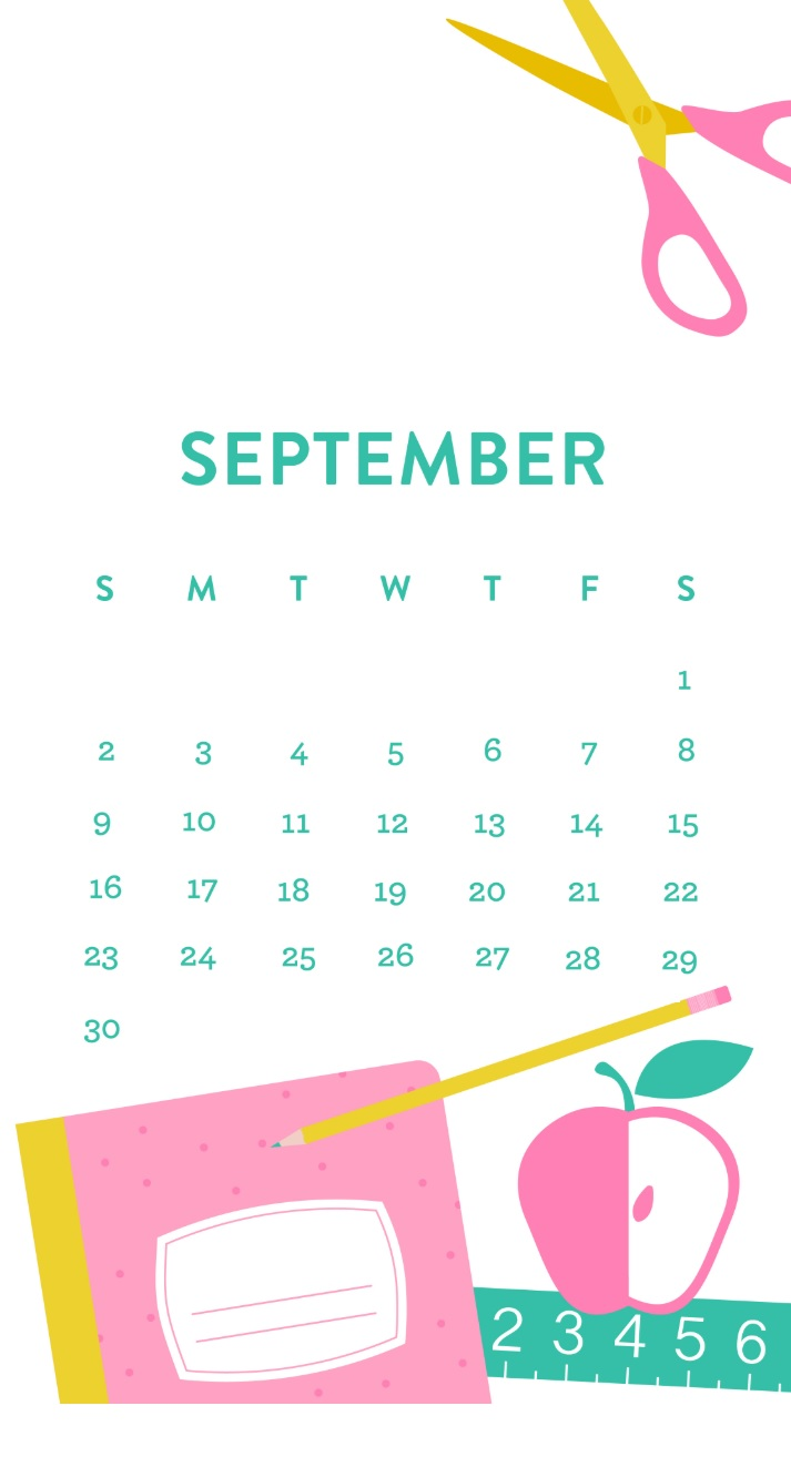 Free September 2018 iPhone Calendar