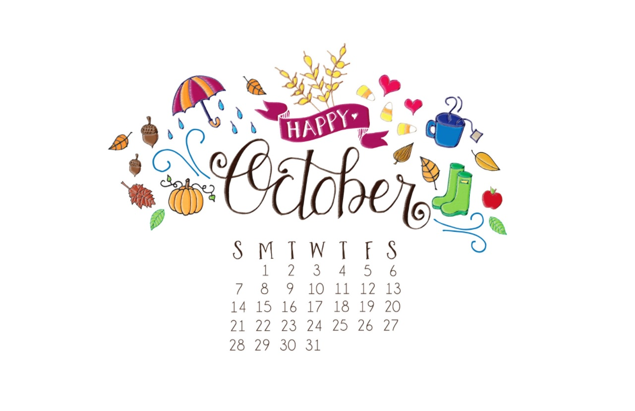Happy October 2018 Desktop Calendar