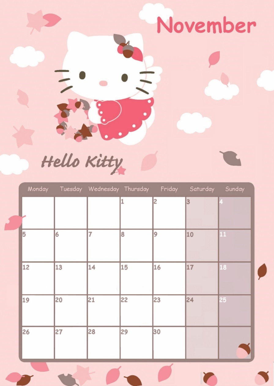 Hello Kitty November 2018 Calendar Designs