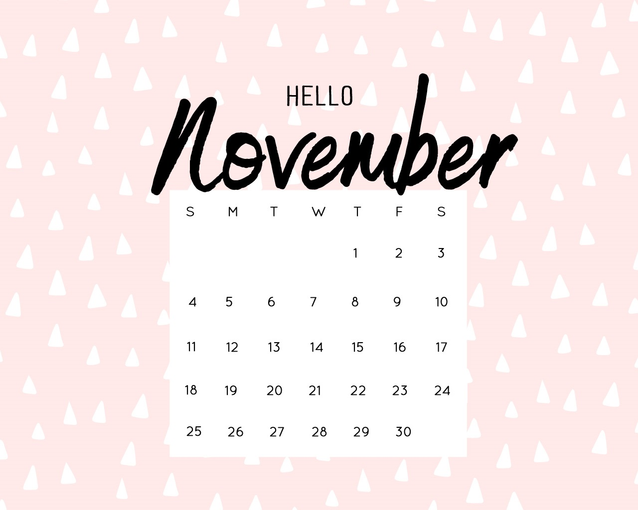 Hello November 2018 iPhone Calendar Wallpapers