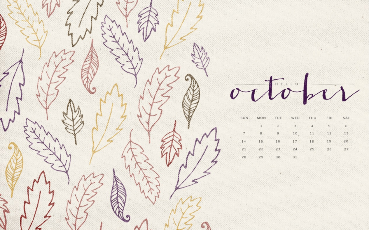 Hello October 2018 Desktop Calendar