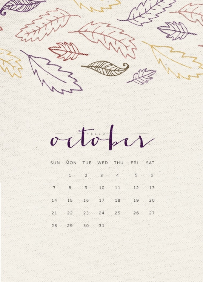 Hello October 2018 iPhone Calendar Wallpapers