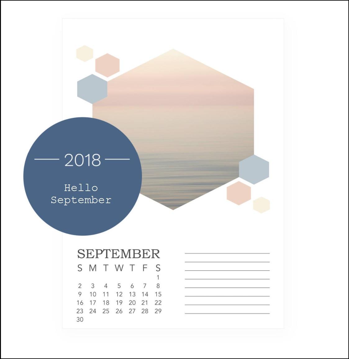 Hello September 2018 Desktop Calendar