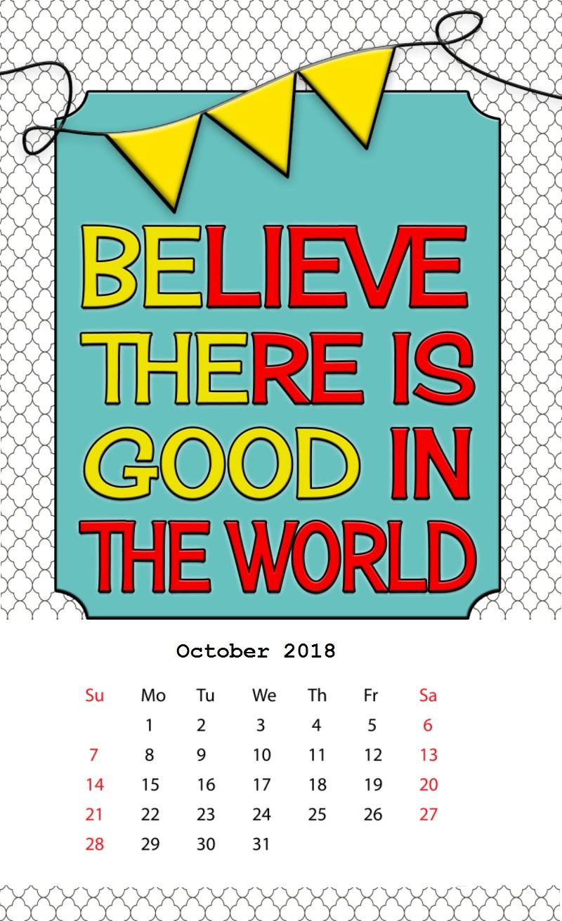 Inspiring Desk Calendar October 2018