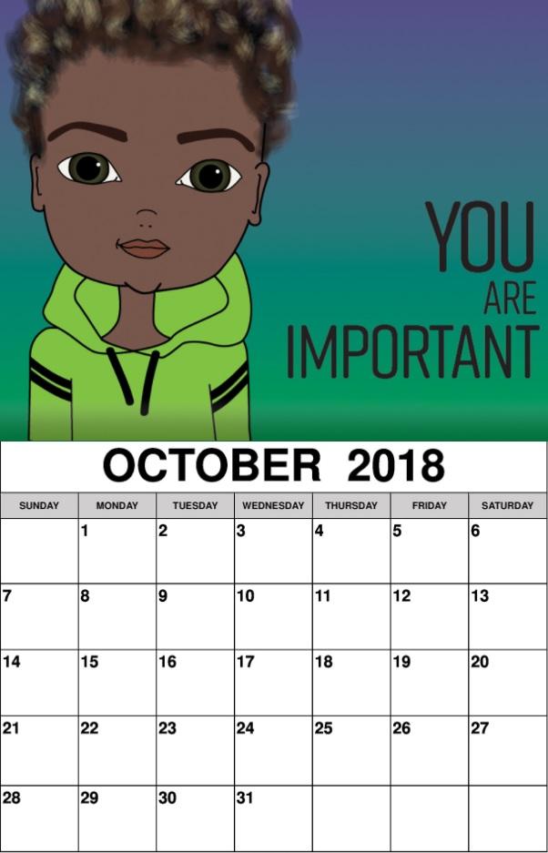 Inspiring Wall Calendar October 2018