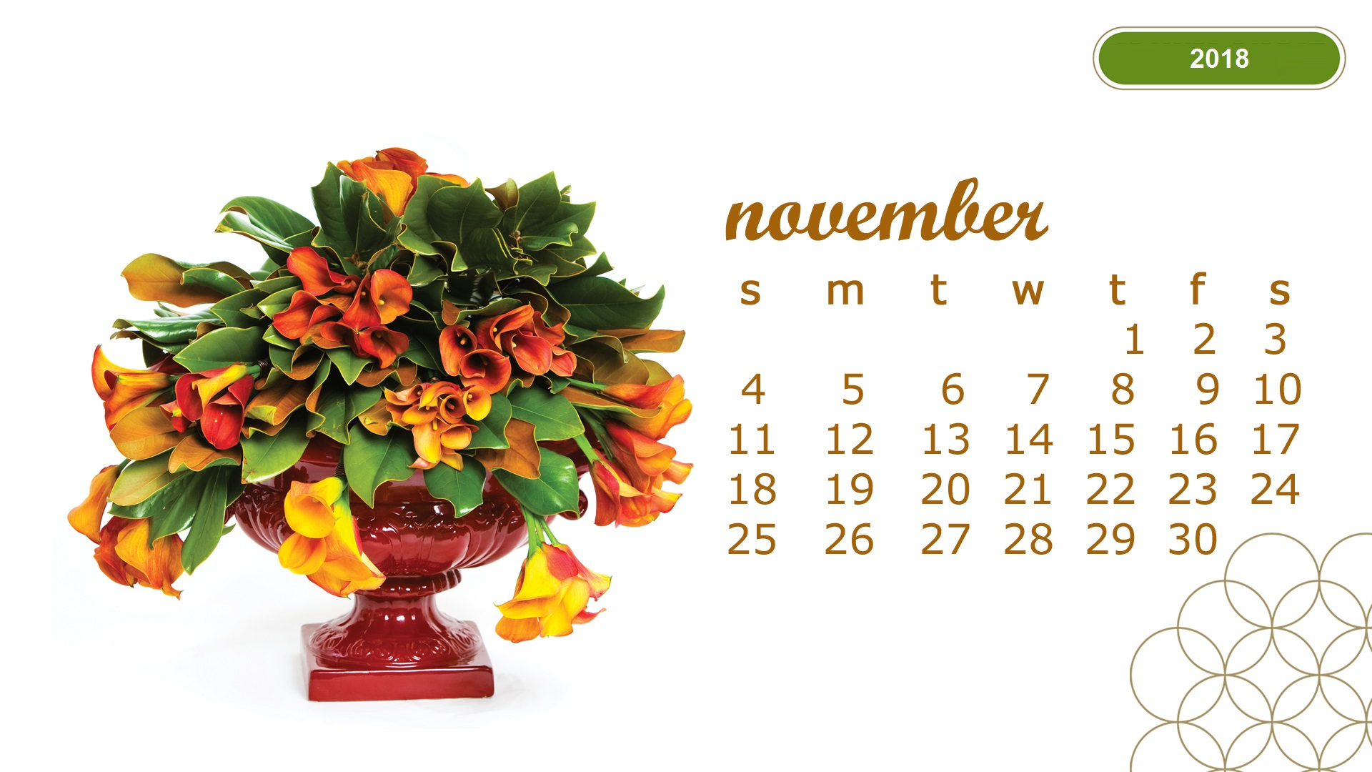 Latest November 2018 Desktop Calendar