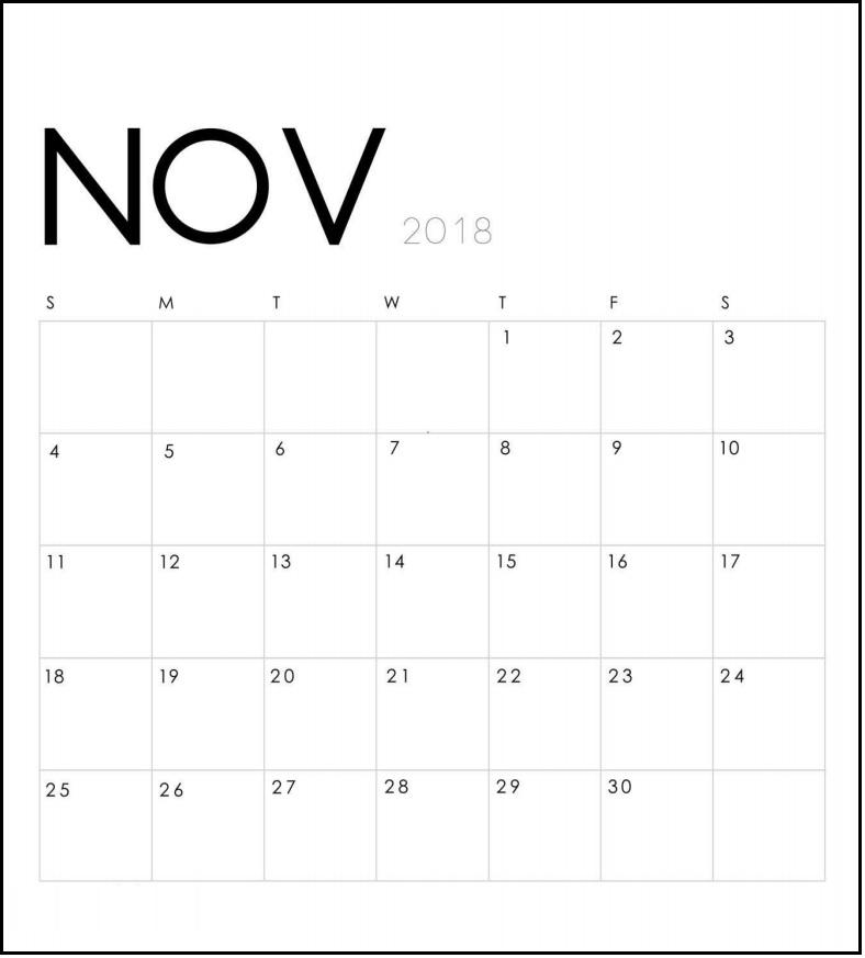 Modern Minimal November 2018 Calendar