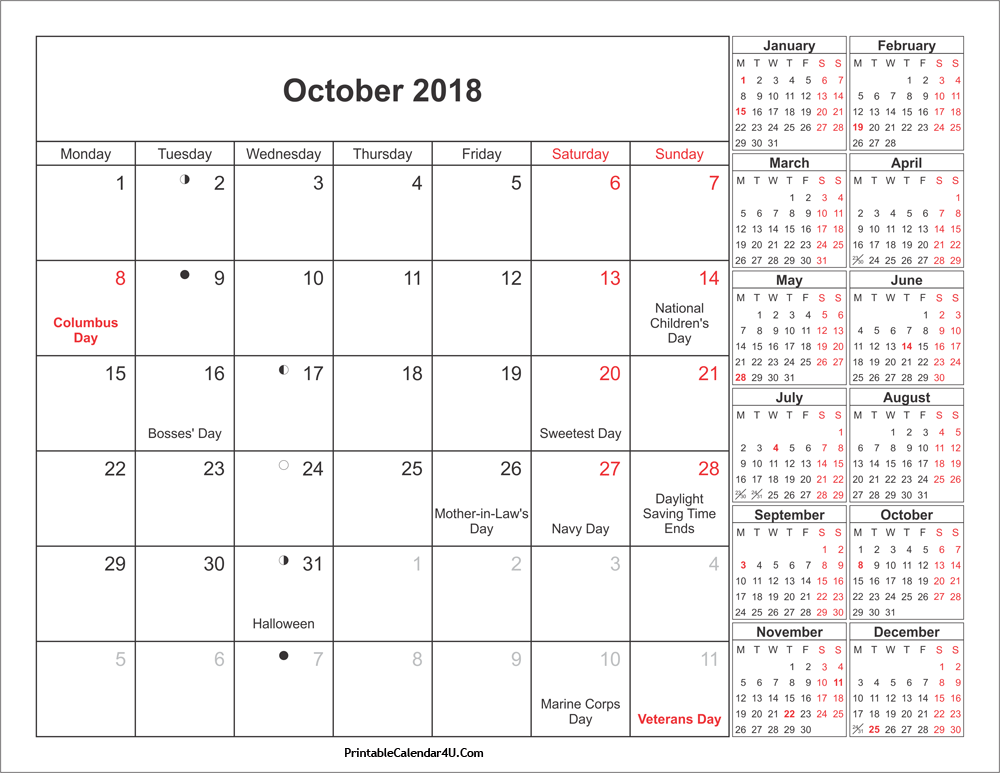 Moon Calendar October 2018 With Holidays