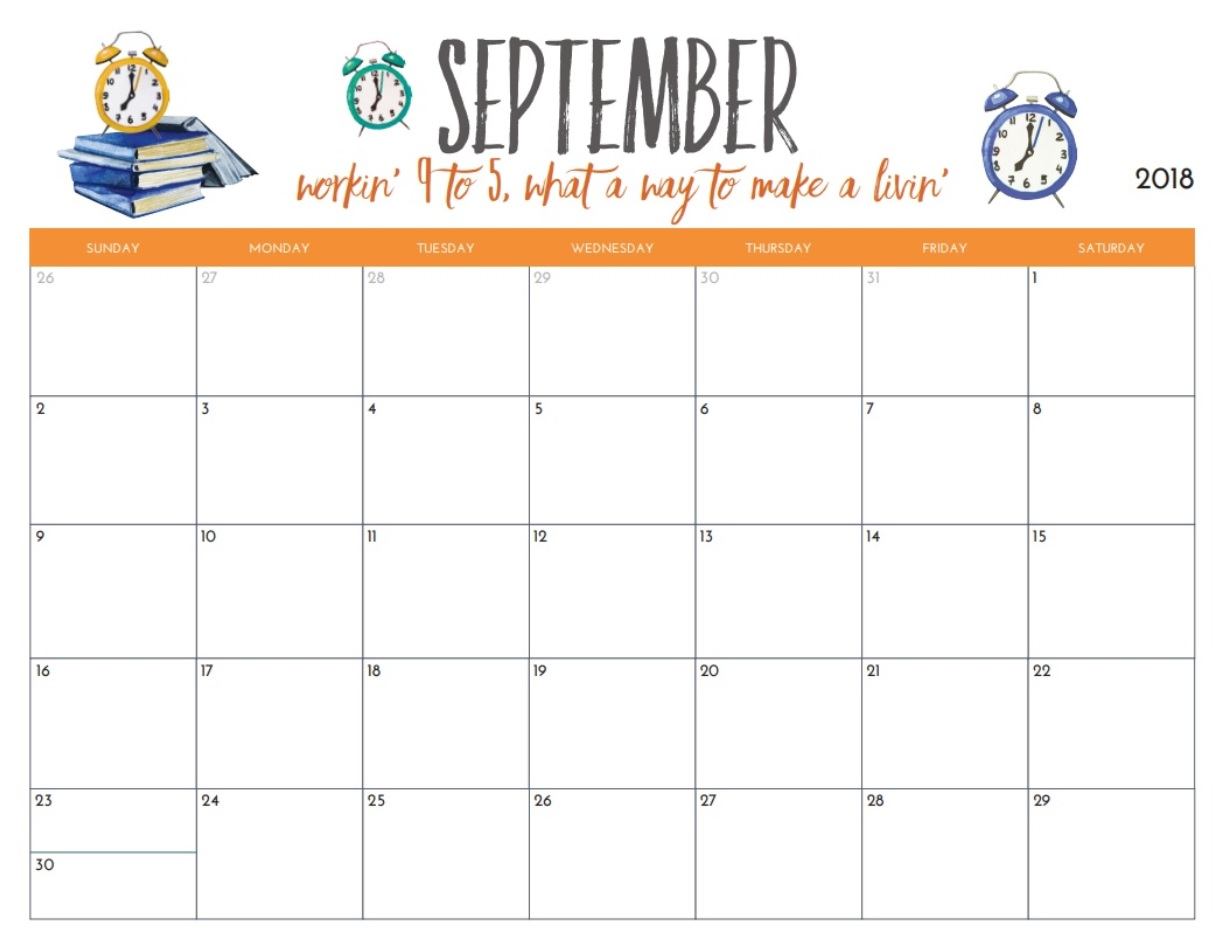 Motivational September 2018 Calendar Organizer