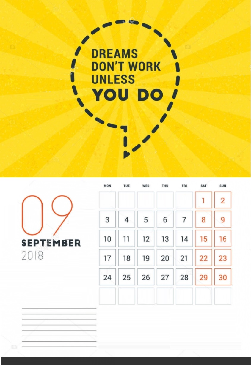 Motivational September 2018 Calendar