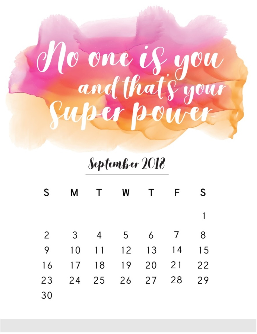 Motivational September 2018 Desk Calendar
