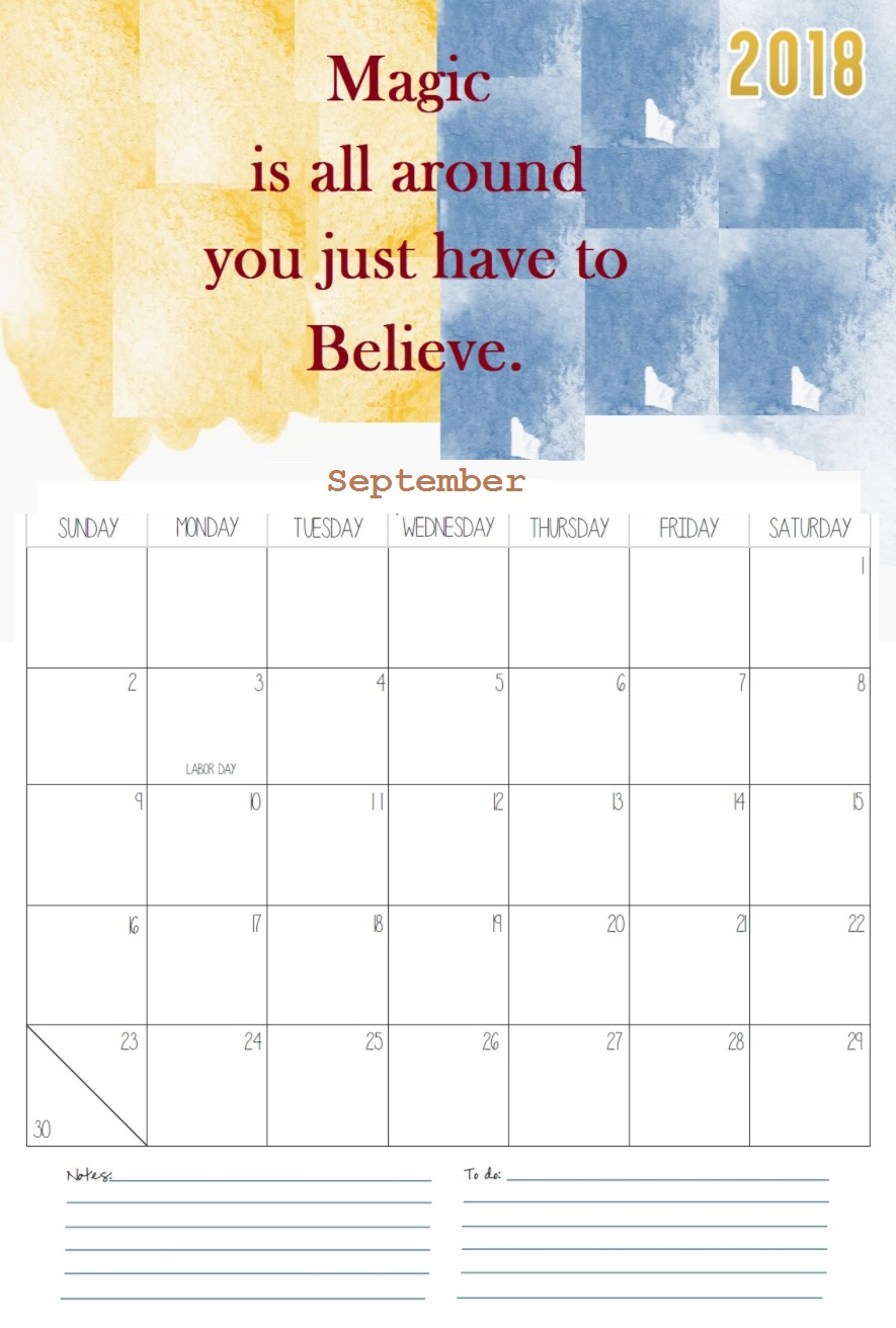 Motivational September 2018 Monthly Calendar