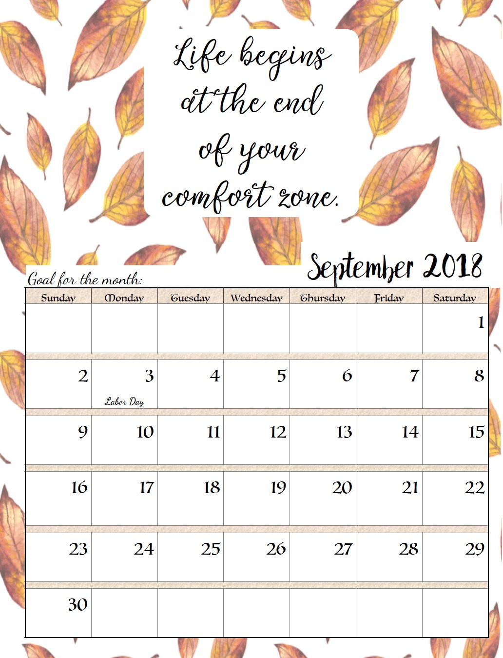Motivational September 2018 Templates