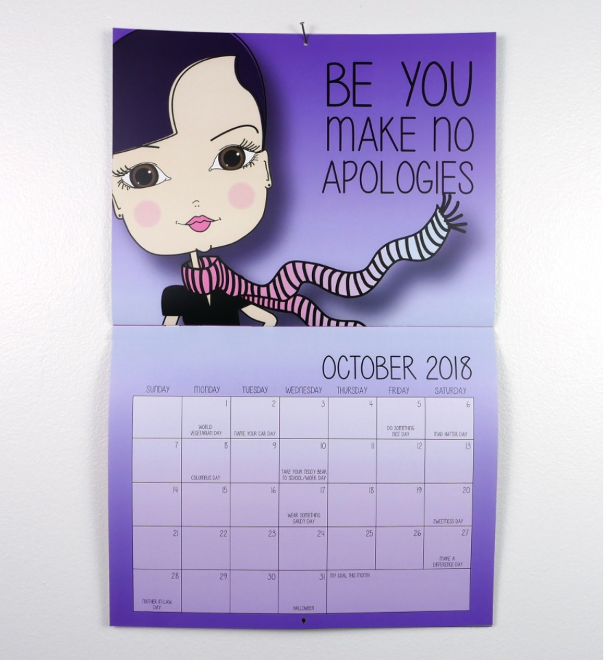 Motivational Wall Calendar October 2018