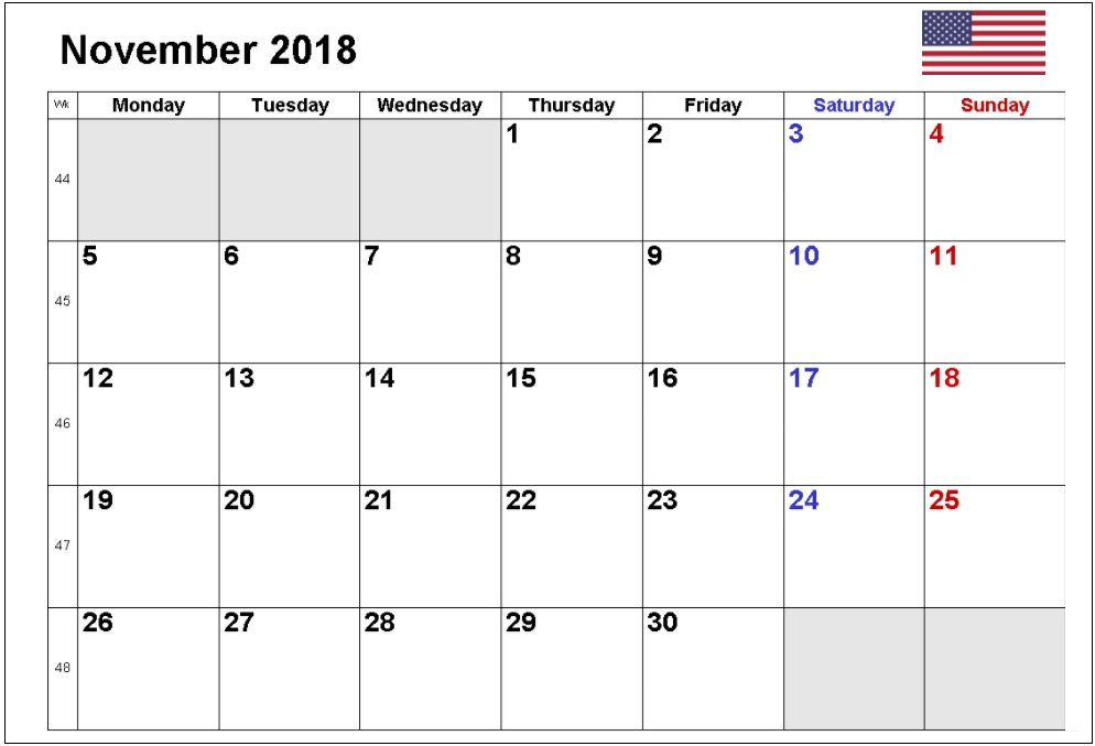 November 2018 American Calendars With Holidays