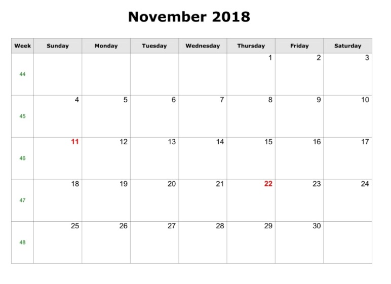 November 2018 Blank Calendar Landscape