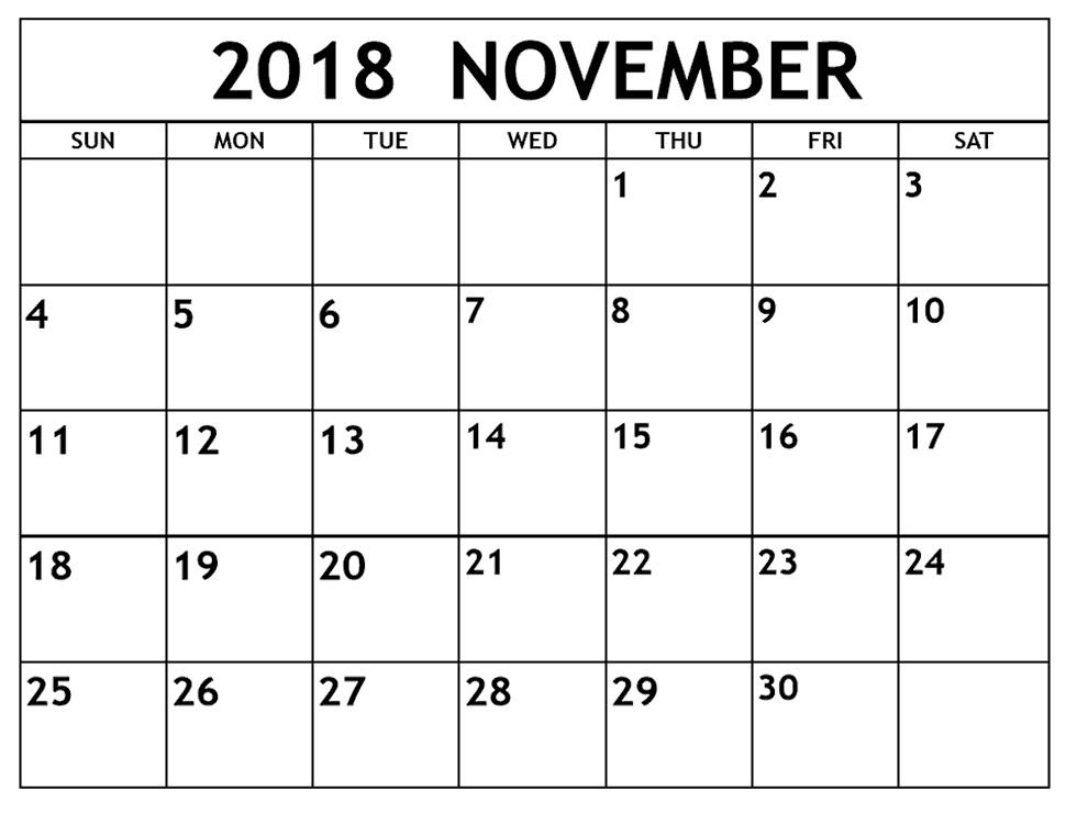 November 2018 Blank Calendar