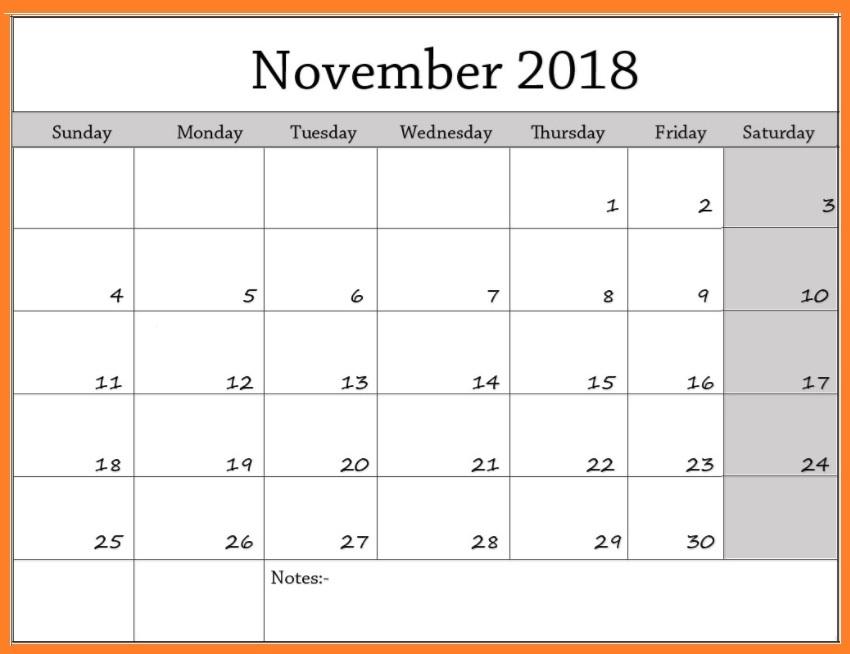 November 2018 Blank Templates Designs