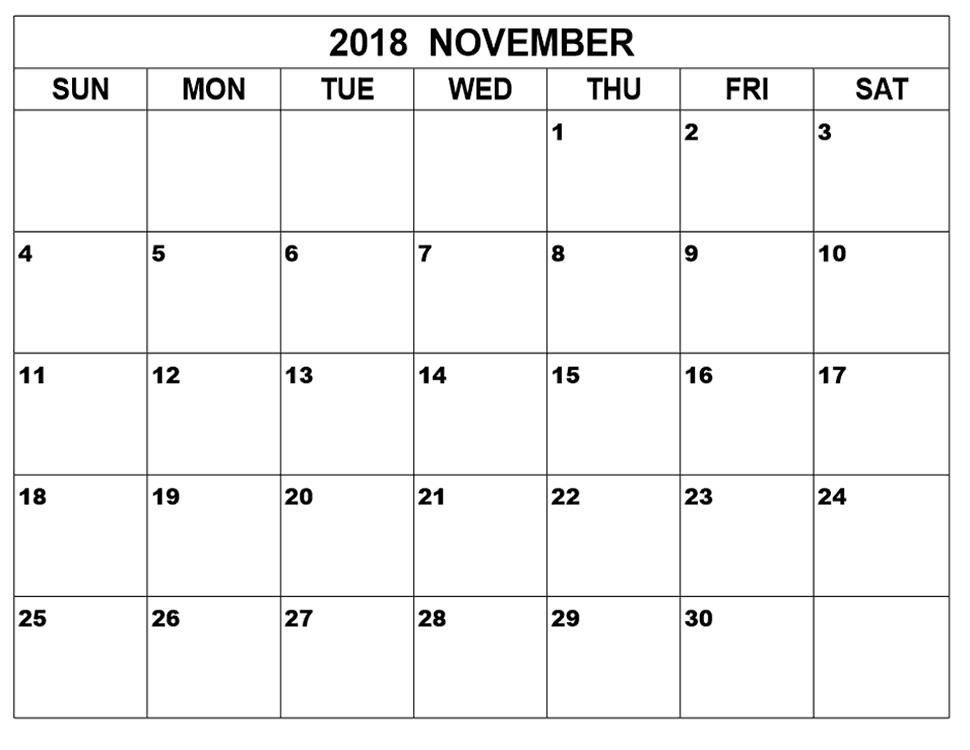 November 2018 Blank Templates Organizer