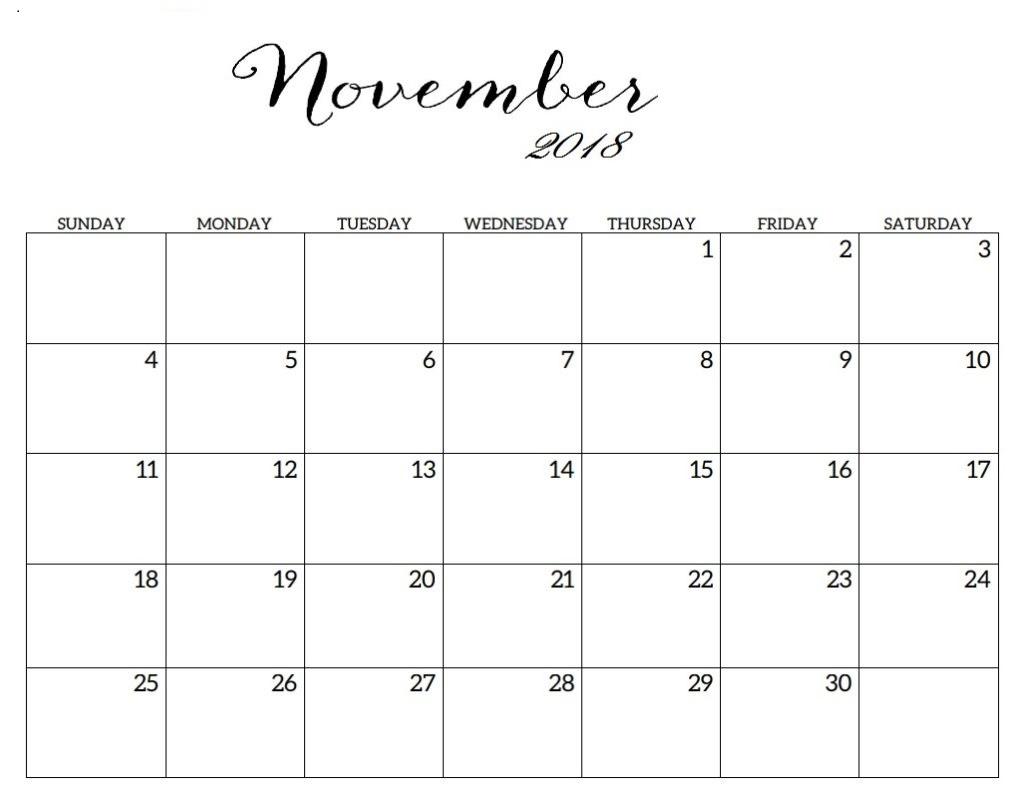 November 2018 Blank Templates Planner